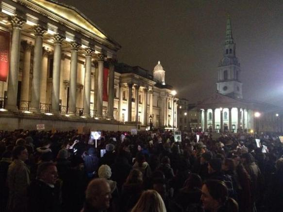 Trafalgar Square last night.  Photo @LPJLondres